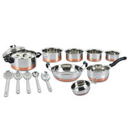 10 Pcs Copper Coated Cook & Serve Set with Copper Coated Idly Cooker + 5 Pcs Kitchen Tool Free