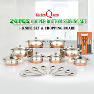 24 Pcs Copper Bottom Serving Set + Knife Set & Chopping Board