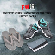 FW16 Rockstar Shoes + Acupressure Flip Flops + 3 Pairs Socks (SSFF2A)