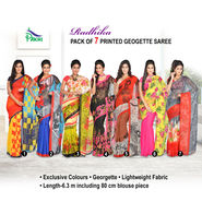 Radhika Pack of 7 Printed Georgette Sarees (7G27)