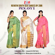 Revathi South Silk Saree by Zuri - Pick Any One