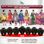 Set of 7 Mughal Inspired Printed Dress Material with Lace (7PDM1) with 7 Free Jewellery