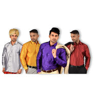 Mr. Tusker Pack of 4 Satin Silk Shirts (4PS2)