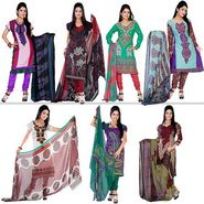 Variation Set of 7 Colourful Designer Dress Material