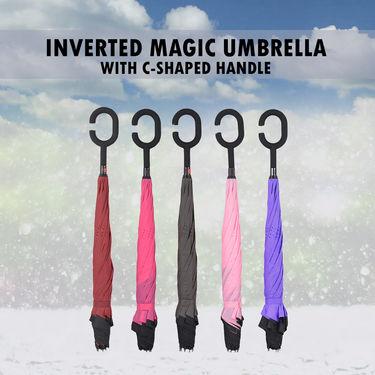 Inverted Magic Umbrella with C-Shaped Handle