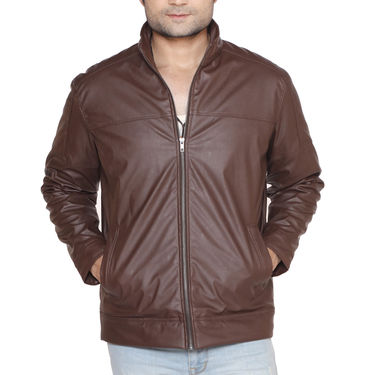 Leatherite Jacket for Men by American Indigo - Tan