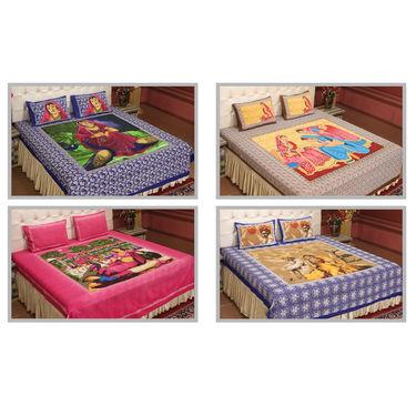 Mural Art - 4 Double Bedsheets (100% Cotton) (4DDBS4)