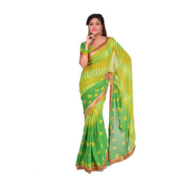 Pack of 6 Assorted Bandhani Sarees with Designer Lace by Pakhi (6GBS5)