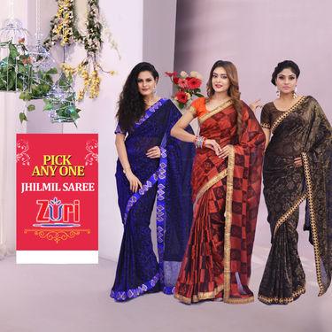 Pick Any One Jhilmil Saree by Zuri (JMS1)