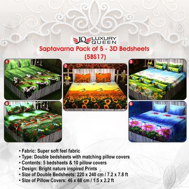 Saptavarna Pack of 5 - 3D Bedsheets (5BS17)