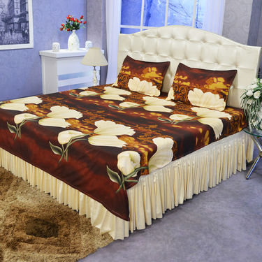 Set of 2 (3D) Double Bedsheets + 2 Single Blankets (4FBS1)