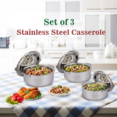 Set of 3 Stainless Steel Casserole