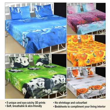 Set of 5 Nature's Love 3D Print Bed Sheets with 10 Pillow Covers