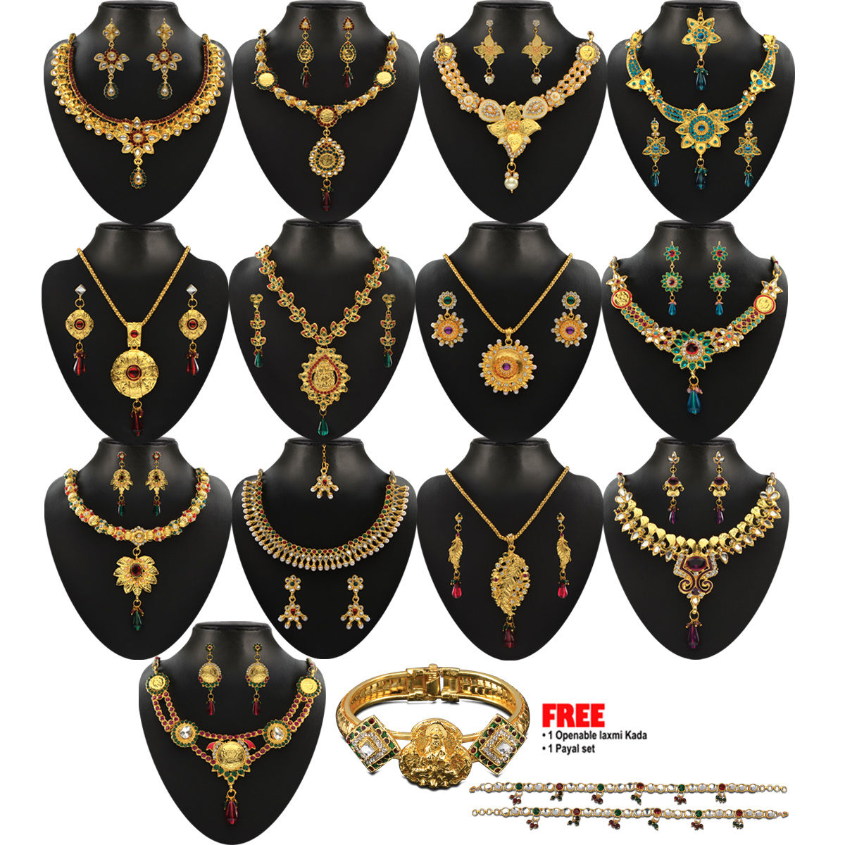 d1239a4394 Buy Shubhalaxmi 1 Gram Gold Plated 13 Jewellery Set Online at Best Price in  India on Naaptol.com