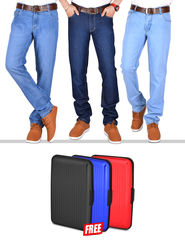 American Indigo Set of 3 Vintage Blue Fashion Denims + Free 3 Coloured Wallets
